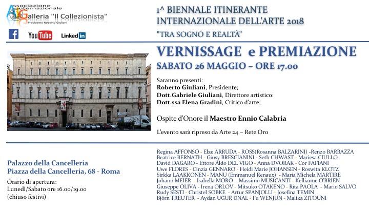 """1^ Biennale Itinerante  Internazionale dell'Arte 2018 """"Tra Sogno e Realtà"""""""